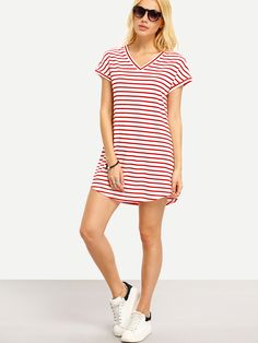 Shop Red White Stripe V Neck Casual Dress online. SheIn offers Red White Stripe V Neck Casual Dress & more to fit your fashionable needs.