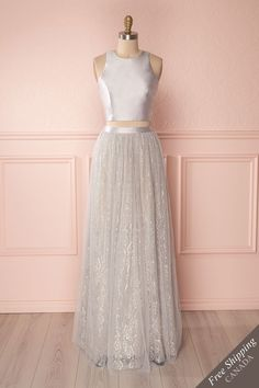 Hisa #boutique1861 #grey #dress #promdress #sparkles #silver #croptop