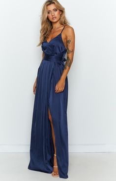 Katrina Split Maxi Dress Navy – Beginning Boutique Navy Formal Dress, Formal Dresses, 30th Birthday Dresses, Brunch Outfit, Our Girl, Dress Backs, Dresses For Sale, Gold Accessories, Strappy Heels