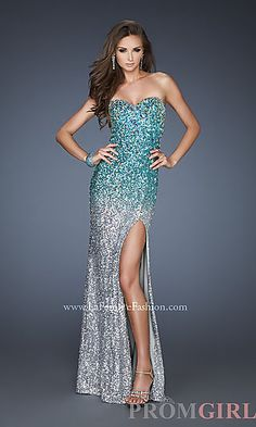 Long Open Back Strapless Sequin Dress at PromGirl.com