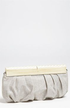 SR Squared by Sondra Roberts Linen & Wood Clutch available at Nordstrom