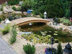 Golden Garden Book Images – – GB Pics - Marian's World Pond Bridge, Garden Bridge, Garden Pond, Water Garden, Golden Garden, Organic Mulch, Organic Horticulture, Fish Ponds, Ponds Backyard