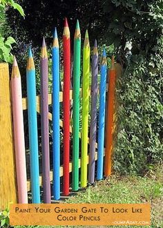 painted gate to look like pencils