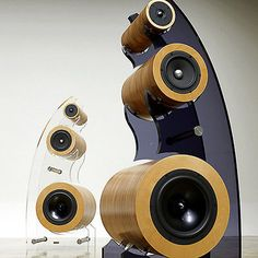 Courbe-High-End-Handmade-Solid-Wood-3Way-Loud-Speaker-with-Dark-Acryl-Stand