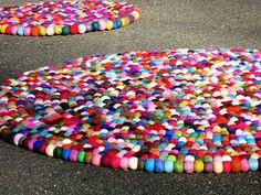 felt balls strung together rug