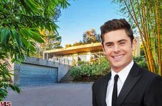 Zac Efron's home has a large garage, patio with pool, wire railings, deep overhangs, grooved ceilings, walls of glass and clean lines.