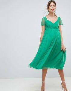 85d12703b814a ASOS Maternity | ASOS MATERNITY Tulle Midi Dress with Sheer Sleeve Asos  Maternity, Maternity Dresses