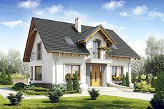 Projekt domu z poddaszem o pow. 133,7 m2 z dachem dwuspadowym, z tarasem, z wykuszem, sprawdź! My House Plans, Cottage House Plans, Cottage Homes, 2 Storey House Design, Dream House Exterior, Facade House, Home Fashion, Luxury Homes, Tiny House
