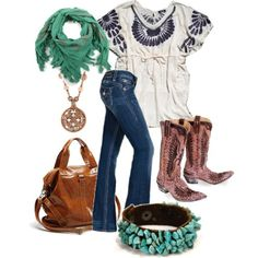 boho chic, cowboy boot outfit, chic outfits, fashion, cowboy boots, cloth, style, cowgirl, closet