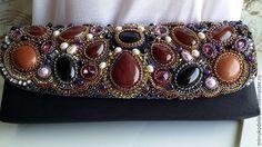 Купить Сумочка клач - коричневый, фиолетовый, агат натуральный, сердалик, сумочка с вышивкой, сумочка с камнями