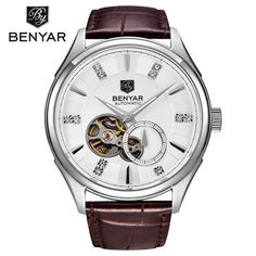 Mens watches Automatic mechanical watch tourbillon clock leather Casual business