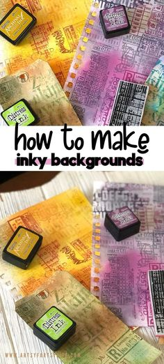 Tips and ideas for how to make creative background papers using just inks and rubber stamps! These are great scrapbook papers for mixed media, junk journals or greeting cards. Super cheap and easy to make! Make Your Own Background, Creative Background, Paper Background, Adult Crafts, Diy And Crafts, Crafts For Kids, Travel Crafts, Just Ink, Coloring Tutorial