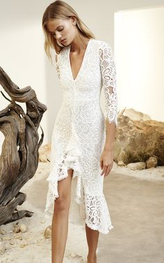 Nadege White Ruffled Lace Dress by Alexis