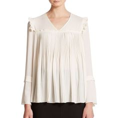 See by Chloe Pleated Woven Blouse ($465) ❤ liked on Polyvore featuring tops, blouses, apparel & accessories, off whtie, v-neck tops, v neck blouse, white pullover, white top and bell sleeve blouse