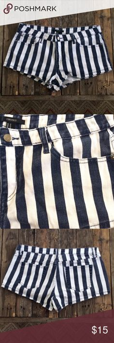 Forever21 shorts Adorable striped denim shorts! Only worn a couple times, great condition. Junior size 31 Forever 21 Shorts Jean Shorts