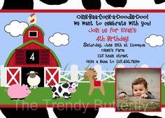 Farm Animals Birthday Invitation Farm Animal Barnyard Birthday Party Invitation