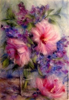 Картина из шерсти Элегия - розовый,картина из шерсти,живопись шерстью