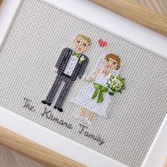 Today (November, 8) is my and my @nubeaxdesign second wedding anniversary!I'm so happy! And here is our cross stitch portrait my mom made for us.I love it so much! I'll show you more details! And some posts back there is a close up of my bouquet ->