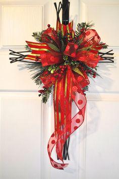 Christmas Front Door Cross Door Hanger Wall Decor by RedBarnWreath, $36.97
