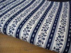 Vintage Fabric Yardage / Vintage Striped Navy by JMFindsandDesigns