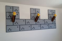 Set of 3 Torches and 8 Castle wall blocks torch cube Minecraft inspired