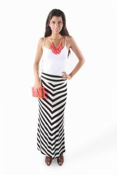 Chambray shirt w/ black & white striped maxi skirt | My fashion ...