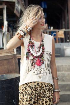 Leopard pants + statement necklace.