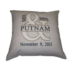 Custom Embroidered Wedding Pillow by SewandCo on Etsy, $40.00