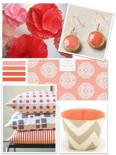 Spaces / pretty coral lined chevron pail