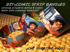:: Upcycled Repurposed Comic Book & Plastic Bottle Bracelet :: DIY :: Comic Strip Bangles :: How To ::