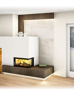 Moderner Kachelofen Home Fireplace, Modern Fireplace, Floating Nightstand, Floating Shelves, Small Places, Modern House Design, Bungalow, Stove, Kitchen Design