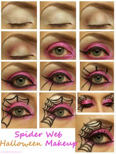 spider web makeup for halloween almostherblogcom spiderweb halloweenmakeup - Eyeshadow For Halloween