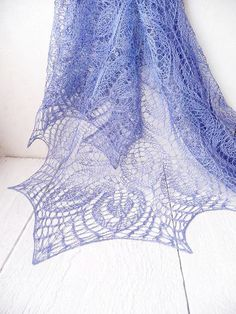 Blue summer Linen shawl, knit  Linen wrap - best for summer - pinned by pin4etsy.com