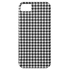 Black and White Houndstooth Pattern iPhone 5/5S Cases