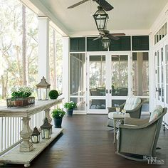 Screened porch with lots of character in its simplicity