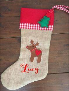 Hessian Christmas Stocking - Reindeer and Decoration Santa Sack, Santas Workshop, Hessian, Christmas Projects, Reindeer, Christmas Stockings, Sacks, Holiday Decor, Gifts