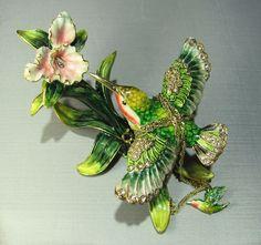 New Trinket Box Gift Painted Crystals Hummingbird Bird Animal
