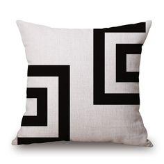 Pillow Case Black and White Pattern Pillowcase Cotton Linen Printed Inches Geometry Euro Pillow Covers White Throw Pillows, Diy Pillows, Cushions, Sofa Throw, Euro Pillow Covers, Cushion Covers, Cushion Pillow, Pillow Shams, Black And White Sofa