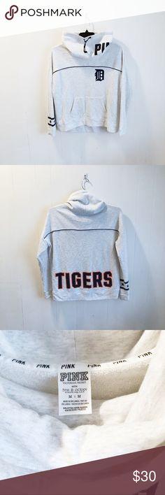 Victorias Secret Pink Detroit Tigers High Low Crew Sweatshirt Navy