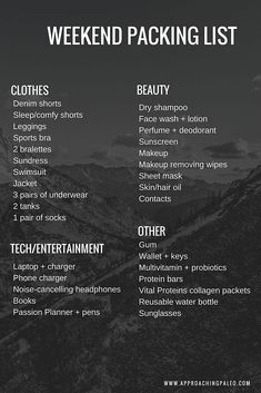 22230bf6a8 Weekend Packing List #weekendpacking #travel #weekendgetaway Weekend Trip  Packing, Packing List For