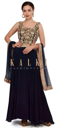 Navy blue anarkali suit with zari embellished bodice only on Kalki