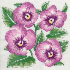 """11"""" Kona fabric quilt block with purple pansies sketch design stitched"""