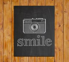 Smile, Chalkboard Printable Art Print, Camera Printable, Instant Download, Fun Retro Inspirational Art, Smile Print, 8x10 Camera Printable, $5.00