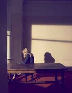 Vogue Germany - A Single Woman (photography by Camilla Åkrans) Very Edward Hopper-esque