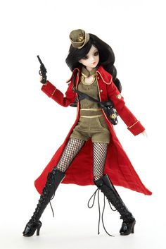 J-Doll Via Appia $95:  - Stylish style that is fearless and elegant at the same time  - Her Black curled hair and sharp eye makeup give a cool impression  - Sexy lace-up long boots and fishnet tights