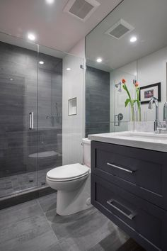 "Contemporary 3/4 Bathroom with Pental Meteor Grigio 12x24"", Flush, High ceiling, slate tile floors, frameless showerdoor"