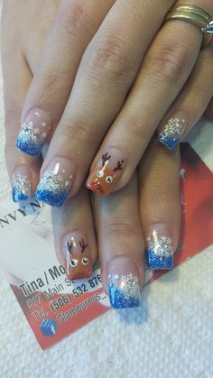like the blue nails not so much the reindeer
