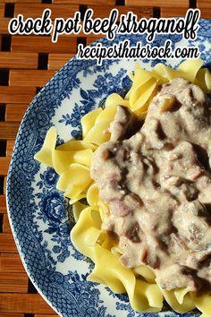 Easy Crock Pot Beef Stroganoff- The perfect slow cooker comfort food. #CrockPot