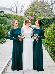 Green bridesmaid dress with long sleeve, Round Neck bridesmaid dress, Modest bridesmaid dress, 2017 winter bridesmaid dress. PD21064