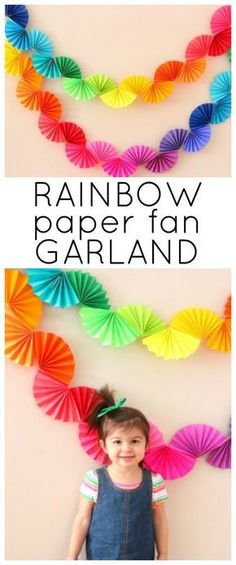 Rainbow Fan Garland {Easy DIY Party Decoration} - Ice Cream Off Paper Plates - - Rainbow fan garland that is so easy to make! You only need scissors, tape and paper to create this colorful DIY decoration for a rainbow theme party . Rainbow Fan, Rainbow Paper, Rainbow Theme, Rainbow Drinks, Rainbow Bunting, Rainbow Stuff, Diy Birthday Decorations, Birthday Diy, Paper Decorations